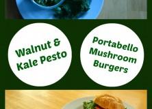 Walnut Kale Pesto Portabello Mushroom Burgers