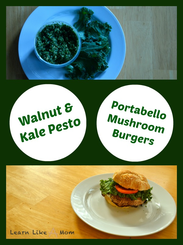 Walnut Kale Pesto Portabello Mushroom Burgers - Learn Like A Mom! https://learnlikeamom.com/walnut-kale-pesto-portabello-mushroom-burgers/ #pestorecipe #walnutkalepesto #portabelloburgerrecipe