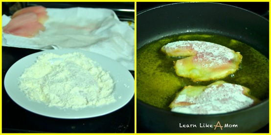 dredge tilapia fillets and fry for fish tacos
