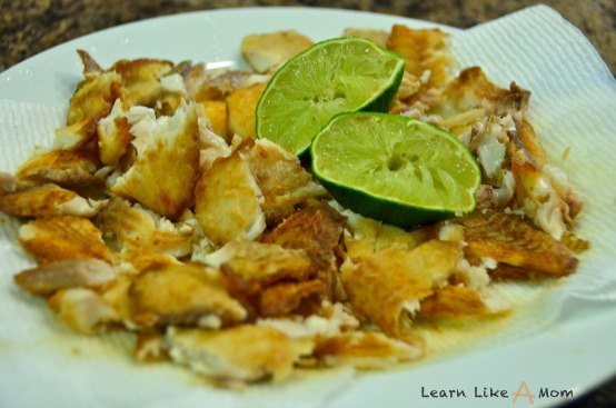 lime juice on tilapia fillets for fish tacos