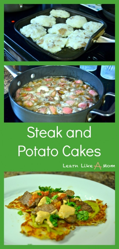 Steak and Potato Cakes! A great recipe from leftovers! - Learn Like A Mom! https://learnlikeamom.com/steak-and-potato-cakes/ #steakrecipe #steakandpotatoes #potatorecipe