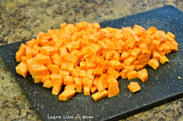 chopped up sweet potato for turkey recipe