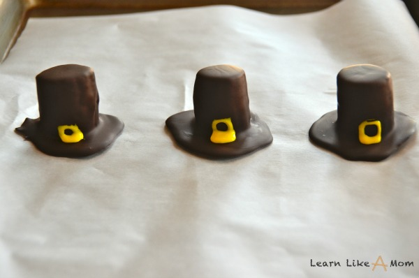add the buckles for the pilgrim hats