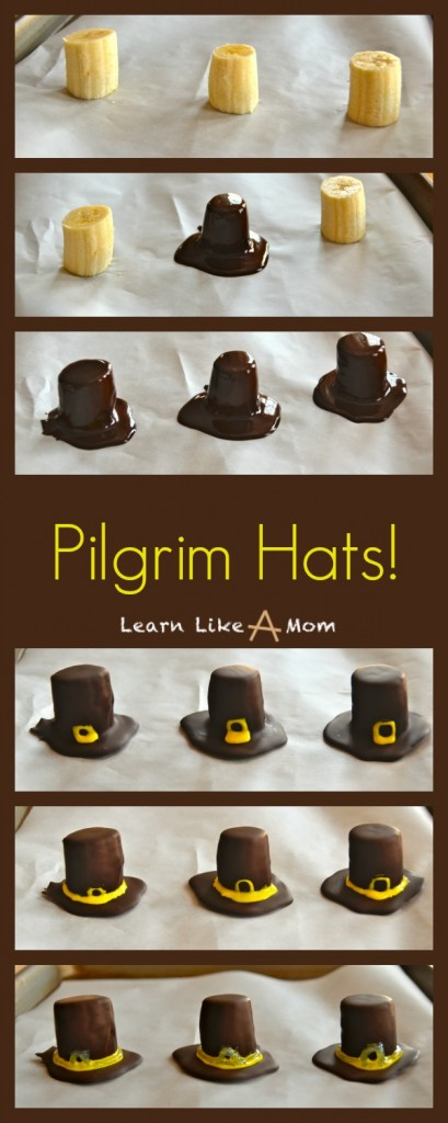 Banana and Chocolate Pilgrim Hats! - Learn Like A Mom! https://learnlikeamom.com/pilgrim-hats/ #chocolatepilgrimhats #pilgrimhats #thanksgivingtreat