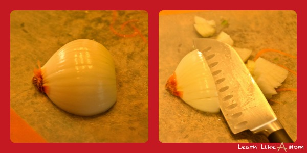 how I chop an onion for taco meat