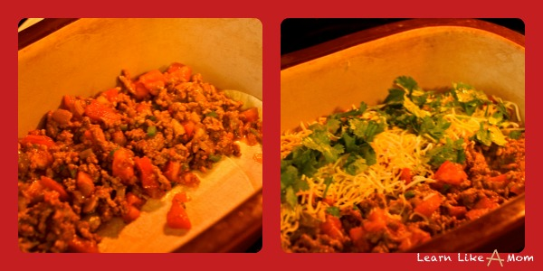 process for mexican lasagna using taco meat