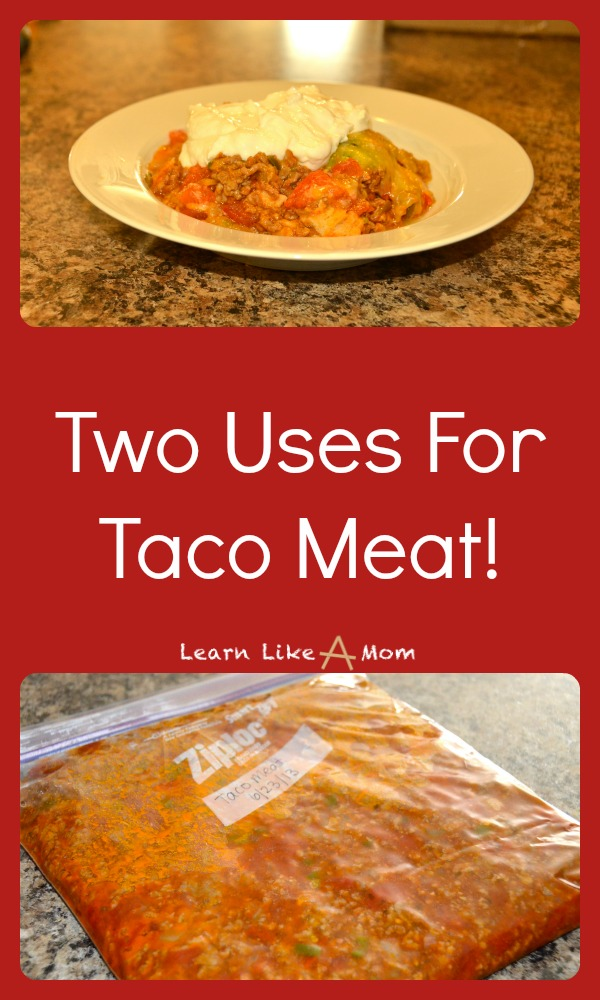 Here are two uses for taco meat: Mexican Lasagna and Freezer Cooking! Learn Like A Mom! https://learnlikeamom.com/two-uses-taco-meat/ #tacorecipe #freezercooking #tacomeat