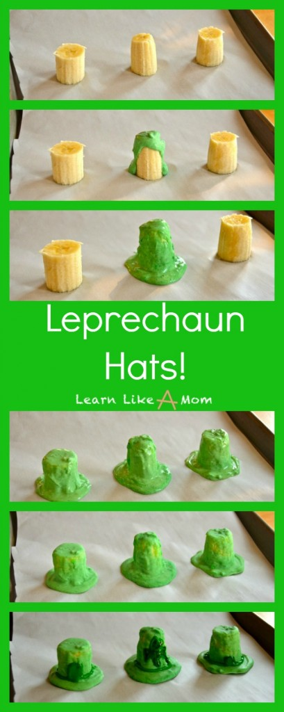 Banana and Chocolate Leprechaun Hats - Learn Like A Mom! https://learnlikeamom.com/leprechaun-hats/ #stpatricksdayrecipe #leprechaunhats